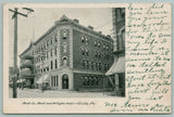 Oil City Pennsylvania~Trust Co Bank & Arlington Hotel~To Mrs Henderson~1909 PC