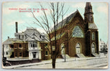 Somersville New Hampshire~Catholic Church & Parish House~Snow on Street~1910 ZIM