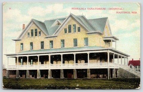 Hastings NE~Widow's Walk ~Long Double Porch~Sanatorium~Bicycle by Stairs~1910 PC