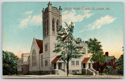St Joseph Missouri~White Temple~Methodist Church~Two Story Red House~c1910
