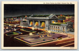Kansas City MO~Union Station Night Lights~ART DECO Linen~1942 Soldier Mail~WWII
