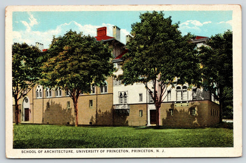 Princeton New Jersey~University School of Architecture~1920s Postcard