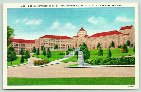 Asheville North Carolina~Edwards High School Campus~Terraced Steps~1940s Linen