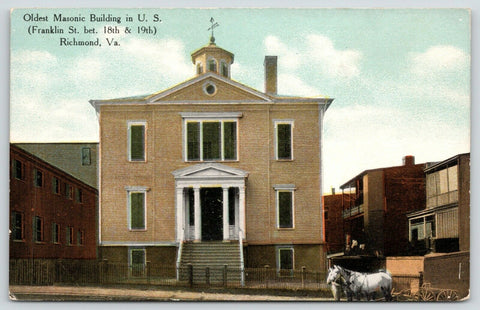 Richmond VA~Big Box~Masonic Temple w/Cupola~Twin White Horses & Wagon c1910 PC