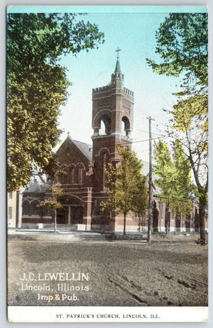 Lincoln Illinois~St Patrick's Catholic Church~Rutted Dirt Road~JC Lewellin~c1910
