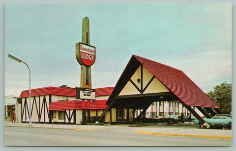 Port Huron Michigan~Downtown Lodge~Welcome Red Wings~Classic Cars~c1950 Postcard