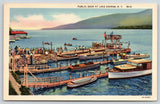 Lake George New York~Folks at Public Dock~Speedboat Rides 50c~1936 Linen