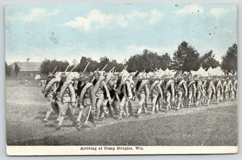 Camp Douglas WI~Arrival of New Recruits Carrying Loads~c1910 Postcard Bluesky