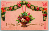 Shenandoah Iowa~Garland & Basket of Red & White Roses~Nicely Embossed 1910 PC