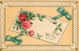 Pink Red Roses on Victorian Card~Blue Ribbon~Art Nouveau Gold Dot Border~Germany