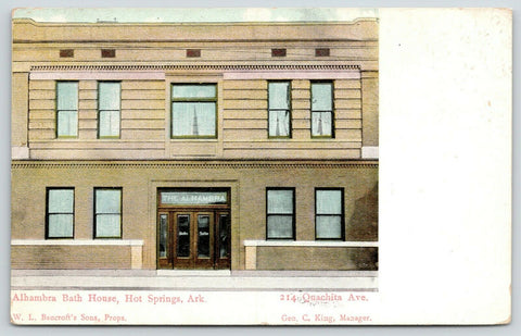 Hot Springs Arkansas~Alhambra Bath House~Close Up Front Doors~Quachita Ave~1912
