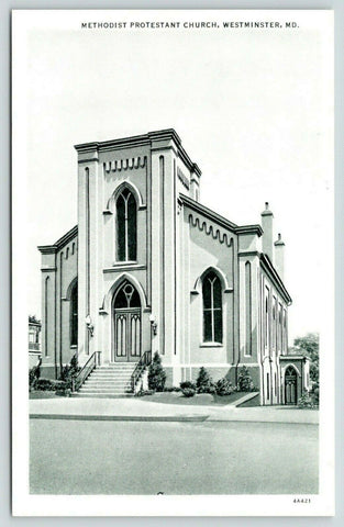 Westminster Maryland~Methodist Protestant Church~1934 B&W CT Photo Finish PC