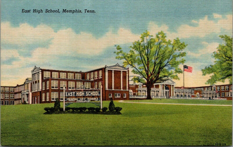 Memphis Tennessee~East Side High School~Ornate Sign in Yard~1953 Linen Postcard