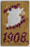 New Year~Purple Violets Large Number 1908~Silver Farm Vignette~Gold Embossed