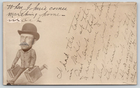 Minnesota State Fair Studio Head Shot~Cartoon Body~Johnnie~Show No One~1905 RPPC