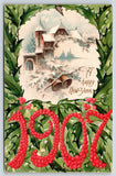 New Year~Large Number Berry 1907~Snow Village Bells Vignette~Holly Back Postcard