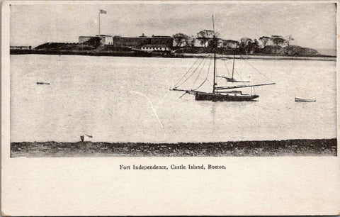Boston Castle Island MA~Fort Independence~Schooners in Harbor~1905 B&W Postcard