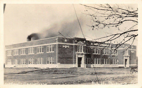 Stockton Kansas~High School~Thick Black Smoke from Stack~1920s Real Photo~RPPC