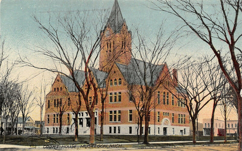 Muskegon Michigan~County Court House~Shops on Square~1908 Postcard