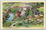 Reno NV~University of Nevada Campus Aerial View~Football Stadium~1941 Linen PC