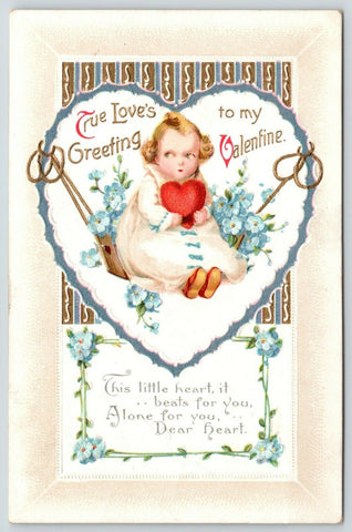 Clapsaddle Valentine~Baby Girl in Tree Heart Swing~Heart Beats for You~Emboss
