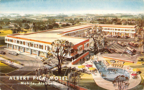 Mobile Alabama~Albert Pick Motel~Government Street~Artist Conception~1959 PC