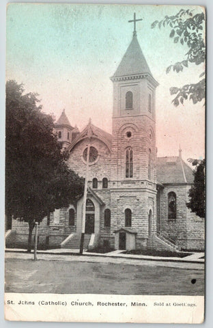 Rochester Minnesota~St Johns Catholic Church~Sold at Goettings~c1910 Postcard