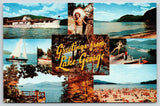 Lake George NY~Large Letter Greetings~Multi View~Bathing Beach~Steamer~1950s