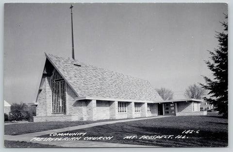 Mt Mount Prospect IL A-Frame Community Presbyterian Church~RPPC 1950 Postcard