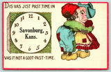 """Just Goot Past Time"" in Savonburg Kansas~Dutch Kids Kiss~Clock~1916 Pennant PC"