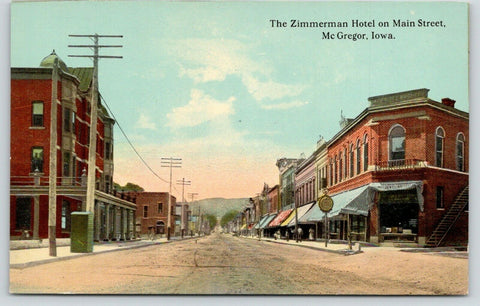 McGregor Iowa~Zimmerman Hotel on Main Street~Jewelry Store Clock~c1910 Postcard