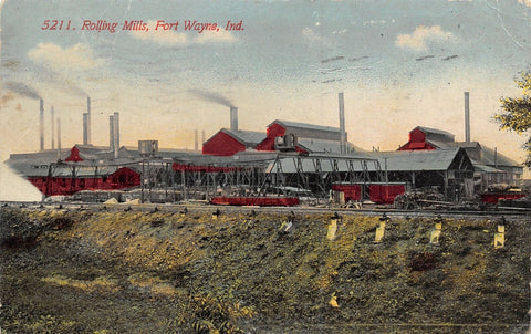 Fort Wayne Indiana~Railroad Tracks & 10 Smoke Stacks~Rolling Mills 1913 Postcard