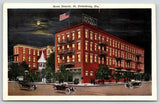 St Petersburg Florida~Hotel Detroit Night Lights~Lightbulb Sign on Roof~1920s