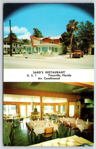 Titusville FL~Inside & Out of Saro's Restaurant~Garage Tow Truck~1950s Saraceno