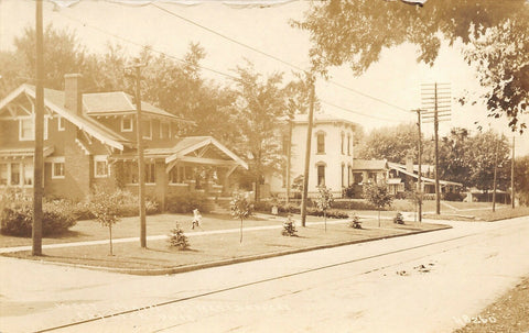 Fayette OH~Bungalows & Italianate Home @ 298-306 West Main St~Sepia RPPC c1912