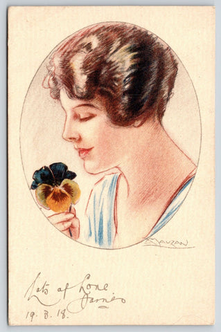 Mauzan~Glamour Lady Portrait~Holds Pansy~WWI Censor~Italy Lonely Place~1918