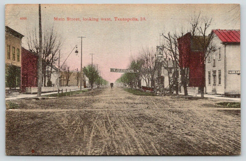 Tentopolis Illinois~Main Street West~Printing Office~Banner Across Road~1910