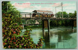 Fort Riley KS Interurban~Electric Trolley Car on Bridge Over Republic River~1909