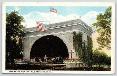 Rochester Minnesota~Public Park~Orchestra & Director in Bandshell~1920s Postcard