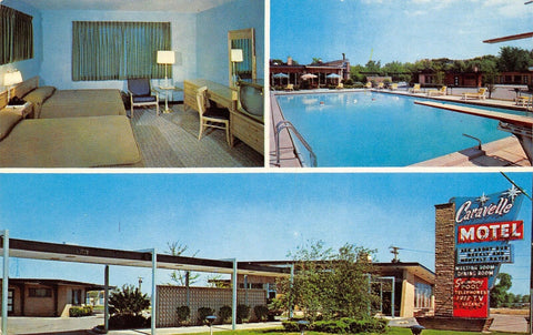 Rosemont Illinois~Caravelle Motel~Googie Star Sign~Art Deco Glass Block~1960s PC | Refried Jeans Postcards