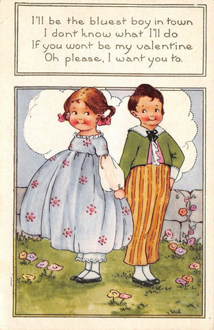 Valentine~Art Deco~Little Girl in Pigtails~Maybe Bluest Boy in Town~Whitney Made | Refried Jeans Postcards