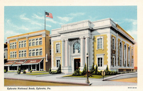 Ephrata Pennsylvania~National Bank~Cafe Next Door~1929 Linen Postcard