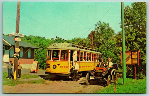 East Haven Connecticut~Old Yellow Trolley At Museum Next to a Ford Model T 1960s