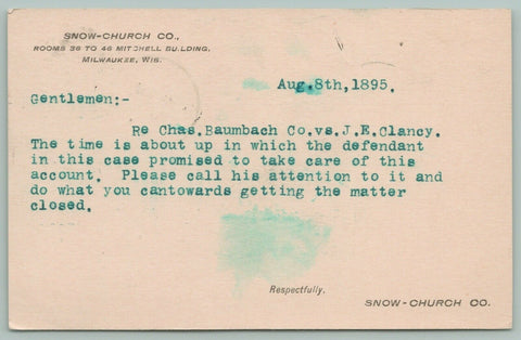 Milwaukee WI~Defendant's Time Is About Up~Chas Baumbach vs JE Clancy~Aug,1895