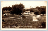 Moorhead MN~Tourist Camp~Tents & Vintage Cars in Field~Store Office~1926 RPPC