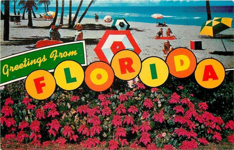 Florida~Colorful Beachball Florida Letter Greetings~Umbrellas~1950s Postcard