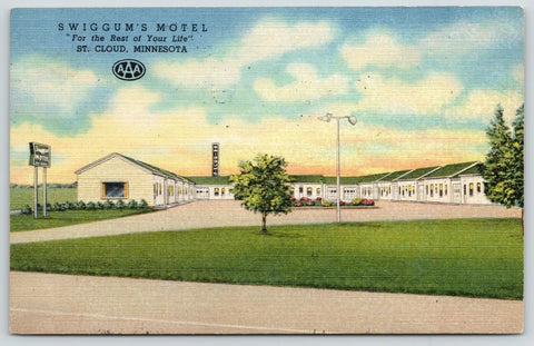 St Cloud Minnesota~Swiggum's AAA Motel~For the Rest of Your Life~Linen 1967 PC