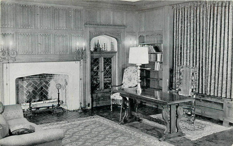Portage WI Fireplace in Zona Gale Breese Room~Public Library~1963 B&W Postcard