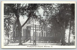 Warren Illinois~Presbyterian Church Thru Trees on Corner~House Behind~1929 B&W