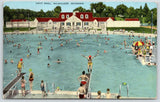 Milwaukee Wisconsin~Backwards Diver @ Hoyt Pool~Slide~Bath House~1947 Linen PC